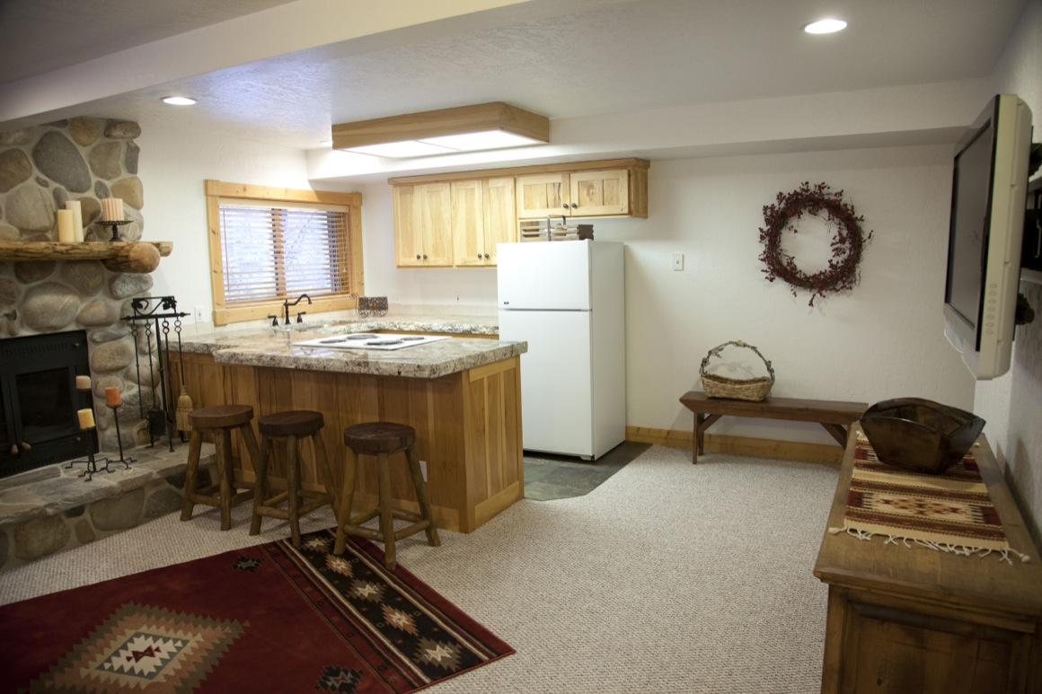 Kitchenette/family room with TV